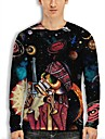 Men\'s Tee T shirt 3D Print Graphic Skull Interstellar 3D Print Long Sleeve Casual Regular Fit Tops Fashion Designer Comfortable Big and Tall Black