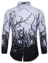 Men\'s Shirt Tree Button-Down Print Long Sleeve Street Tops Casual Fashion Breathable Comfortable White