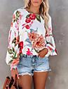 여성용 블라우스 셔츠 플로럴 긴 소매 프린트 라운드 넥 탑스 보통 화이트 / 3D 인쇄