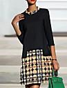 Női A vonalú ruha Térdig érő ruha Medence Bíbor Khakizöld Háromnegyedes Mértani Nyomtatott Ősz Kerek Alkalmi 2021 S M L XL XXL