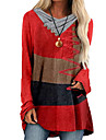 Női A vonalú ruha Rövid mini ruha Bor Rubin Hosszú ujj Színes Gomb Ősz Tavasz Körgallér Alkalmi Normál 2021 S M L XL XXL