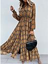 여성용 스윙 드레스 맥시 드레스 카키 긴 소매 격자무늬 / 체크 레이스 -업 가을 봄 딥 V 우아함 급경사 S M L XL XXL