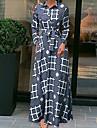 Γυναικεία Φόρεμα ριχτό από τη μέση και κάτω Μακρύ φόρεμα Γκρίζο Μακρυμάνικο Καρό Με Κορδόνια Στάμπα Φθινόπωρο Κολάρο Πουκαμίσου Καθημερινό 2021 Τ M L XL XXL 3XL 4XL 5XL