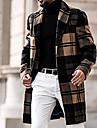 בגדי ריקוד גברים מעיל יומי סתיו חורף ארוך מעיל רגיל שמור על חום הגוף ספורטיבי Jackets שרוול ארוך משובץ / משבצות מרופד חאקי