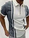 男性用 ゴルフシャツ その他のプリント ストライプ タータン・チェック レタード 半袖 お出かけ トップの デザイナー パンク&ゴシック ホワイト