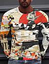 Homens Unisexo Camisetas Camiseta Camisa Social Impressao 3D Estampas Abstratas Graffiti Estampado Manga Longa Diario Blusas Casual Designer Grande e Alto Amarelo
