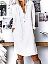 Női Váltó ruha Térdig érő ruha Sárga Fehér Tengerészkék Hosszú ujj Tömör szín Gomb Tavasz Nyár Állógallér Divatos és modern meleg Alkalmi Bő 2021 S M L XL XXL 3XL