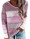 Γυναικεία Πουλόβερ Πλεκτό Συνδυασμός Χρωμάτων Βασικό Καθημερινό Πλεκτό Μακρυμάνικο Πουλόβερ ζακέτες Με Κουκούλα Φθινόπωρο Χειμώνας Ροζ Θαλασσί Βυσσινί