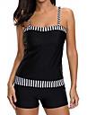 női vinatge csíkos fürdőruha plusz méretű fürdőruha tankini fürdőruha hasvezérlő kétrészes bikini szett s-fekete XL