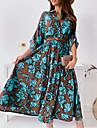 여성용 A 라인 드레스 맥시 드레스 클로버 긴 소매 플로럴 프린트 프린트 가을 겨울 V 넥 우아함 보통 2021 S M L XL XXL