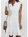Női A vonalú ruha Térdig érő ruha Fehér Ujjatlan Tömör szín Ősz Nyár V-alakú Elegáns Alkalmi 2021 S M L XL XXL 3XL / Pamut / Pamut
