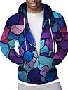 男性用 ジップアップフーディースウェットシャツ フルジップパーカー グラフィック 幾何学模様 スポーツ カジュアル 日常 3Dプリント カジュアル ストリートファッション パーカー トレーナー ブルー