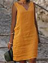 női váltóruha térdig érő ruha kék sárga rózsaszín zöld királyi kék ujjatlan egyszínű hideg váll nyár v nyak alkalmi laza 2021 s m l xl xxl 3xl 4xl