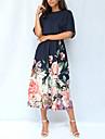 Női Swing ruha Midi ruha Sötétkék Rövid ujjú Virágos Nyomtatott Ősz Nyár Kerek Boho Normál 2021 S M L XL XXL