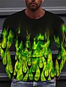 男性用 男女兼用 Tシャツ 3Dプリント グラフィック スカル 火炎 プリント 長袖 ハロウィーン レギュラー トップの カジュアル デザイナー 大きくて背が高い グリーン
