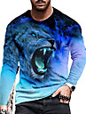 Hombre Unisexo Tee Camiseta Camisa Impresion 3D Estampados Leon Estampado Manga Larga Diario Ajuste regular Tops Casual De Diseno Grande y alto Azul Piscina Morado Verde Trebol