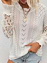 Γυναικεία Πουλόβερ Αλτης Πλεκτό Δαντέλες Συμπαγές Χρώμα Στυλάτο Καθημερινό Μαλακή Μακρυμάνικο Κανονικό Πουλόβερ ζακέτες Στρογγυλή Ψηλή Λαιμόκοψη Φθινόπωρο Χειμώνας Γκρίζο Λευκό Μαύρο