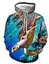 男性用 プルオーバーフーディースウェットシャツ グラフィック カメ プリント フード付き カジュアル 日常 3Dプリント カジュアル ストリートファッション パーカー トレーナー 長袖 ブルー