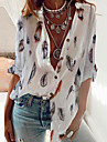 Γυναικεία Άνθινο Θέμα Μπλούζα Πουκάμισο Φλοράλ Γραφική Φτερό Μακρυμάνικο Κουμπί Στάμπα Όρθιος γιακάς Καθημερινό Κομψό στυλ street Άριστος Κανονικό Θαλασσί Βαθυγάλαζο Λευκό / 3D εκτύπωση