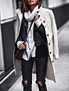 Γυναικεία Παλτό Καθημερινά Εξόδου Φθινόπωρο Χειμώνας Μακρύ Παλτό Μονόπετο Απορρίπτω Κανονικό Διατηρείτε Ζεστό Καθημερινό Σακάκια Μακρυμάνικο Συμπαγές Χρώμα Με Επένδυση Λευκό Μαύρο