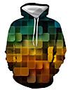 Herre Pullover-hættetrøje Grafisk Geometrisk Trykt mønster Hætte Afslappet Daglig 3D-udskrivning Afslappet Gade Hættetrøjer Sweatshirts Langærmet Blå Grøn Orange