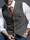 男性用 ベスト チョッキ 日常着 チェック シングルブレスト レギュラー ポリエステル 男性用 スーツ イエロー / グレー - Vネック