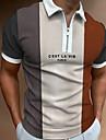 Per uomo Camicia da golf Golf Altre stampe Monocolore Alfabetico Cerniera Collage Manica corta Casuale Top Lavoro Semplice Leggero Essenziale Beige