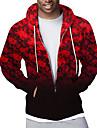 Herre Hættetrøje med lynlås med lynlås Hættetrøje med fuld lynlås Ternet Grafisk Hætte Sport & Udendørs Afslappet Daglig 3D-udskrivning Afslappet Gade Hættetrøjer Sweatshirts Langærmet Rød