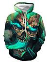 Men\'s Pullover Hoodie Sweatshirt Graphic Skull Print Hooded Casual Daily 3D Print Casual Streetwear Hoodies Sweatshirts  Long Sleeve Blue Gray Green