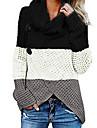 Γυναικεία Πουλόβερ Μπλοκ χρωμάτων Πλεκτό Συνδυασμός Χρωμάτων Καθημερινό Μακρυμάνικο Φαρδιά Πουλόβερ ζακέτες Ζιβάγκο Φθινόπωρο Χειμώνας Θαλασσί Μαύρο Καφέ