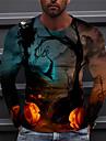 Herr Unisex T-shirt 3D-tryck Grafiska tryck Pumpa Tryck Långärmad Halloween Normal Blast Ledigt Designer Stor och hög Marinblå