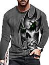 男性用 男女兼用 Tシャツ シャツ 3Dプリント グラフィック スカル プリント 長袖 日常 トップの カジュアル デザイナー 大きくて背が高い グレー
