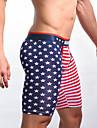 Herre Trykt mønster Mode Flag Boksershorts Boxer trusser Elastisk Medium Talje Rød S