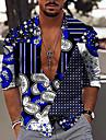 Chemise Homme 3D effet Bloc de couleur Impression 3D Bouton bas Manches Longues Decontractee du quotidien Des sports Standard Polyester Decontractee Mode Confortable Col