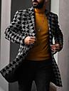 בגדי ריקוד גברים בלשית אַדֶרֶת יומי בָּחוּץ סתיו חורף ארוך מעיל חזה יחיד דש קלאסי רזה שמור על חום הגוף יום יומי סגנון רחוב Jackets שרוול ארוך דפוס מרופד אפור חאקי שחור