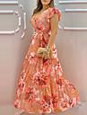 여성용 스윙 드레스 맥시 드레스 오렌지 짧은 소매 플로럴 레이스 -업 주름장식 프린트 여름 V 넥 캐쥬얼 2021 S M L XL