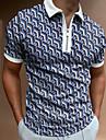 Hombre Camiseta de golf Geometria Cremallera Estampado Manga Corta Calle Ajuste regular Tops Ropa deportiva Casual Moda Comodo Azul Piscina / Verano