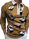 Men\'s Golf Shirt 3D Print Poker 3D Print Zipper Long Sleeve Street Tops Sportswear Casual Fashion Comfortable Blue Purple Yellow
