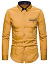 Hombre Camisa Otras impresiones Color solido Bloques Manga Larga Casual Tops Casual Moda Chic de Calle Rosa Claro Gris Caqui
