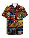 男性用 シャツ 3Dプリント カートゥン プラスサイズ 3D プリント 半袖 祝日 トップの ビーチスタイル グリーン