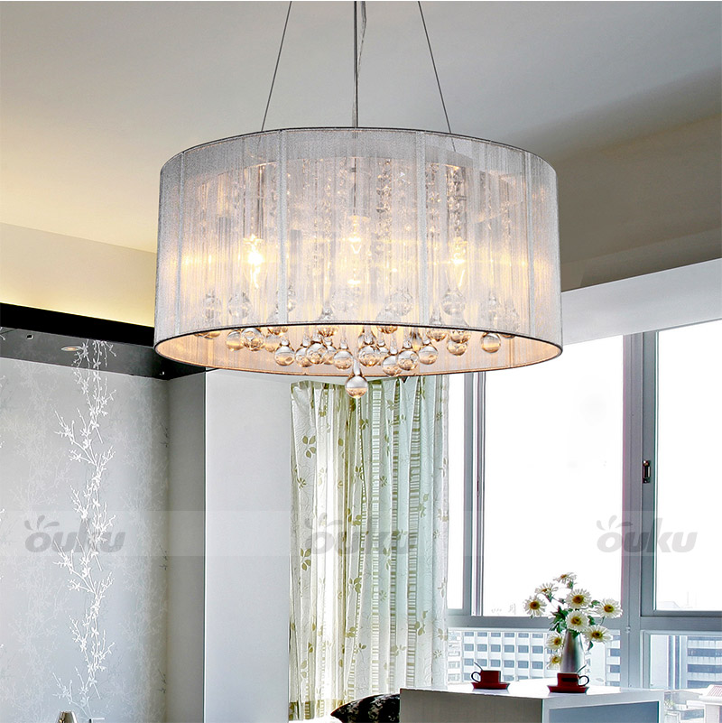 Modern drum pendant lamp light chandelier crystalfabric ceiling modern drum pendant lamp light chandelier crystalfabric ceiling cylinder ebay aloadofball Image collections