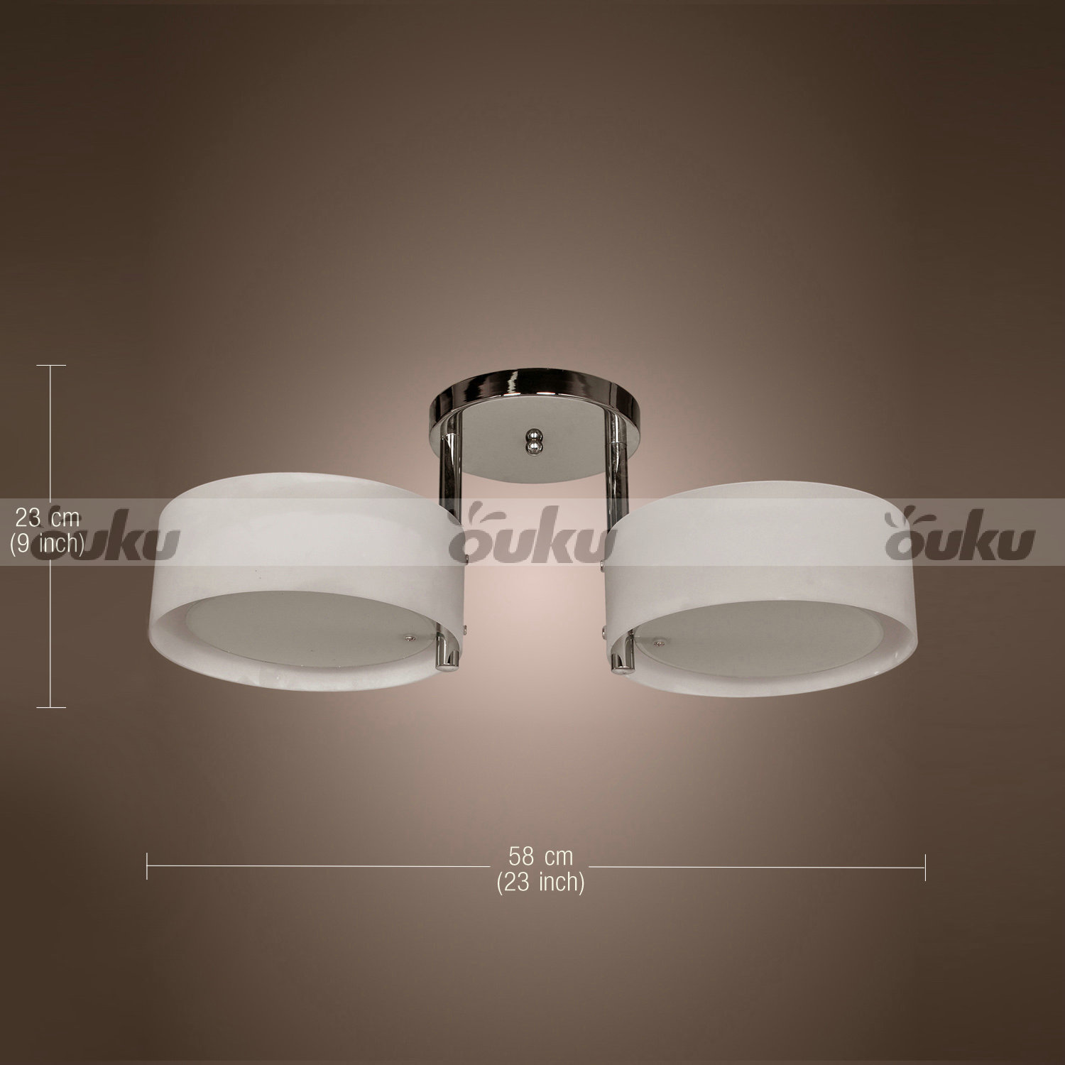 Modern Acrylic Chandelier Ceiling Light 2 Round Lamps Chrome ...