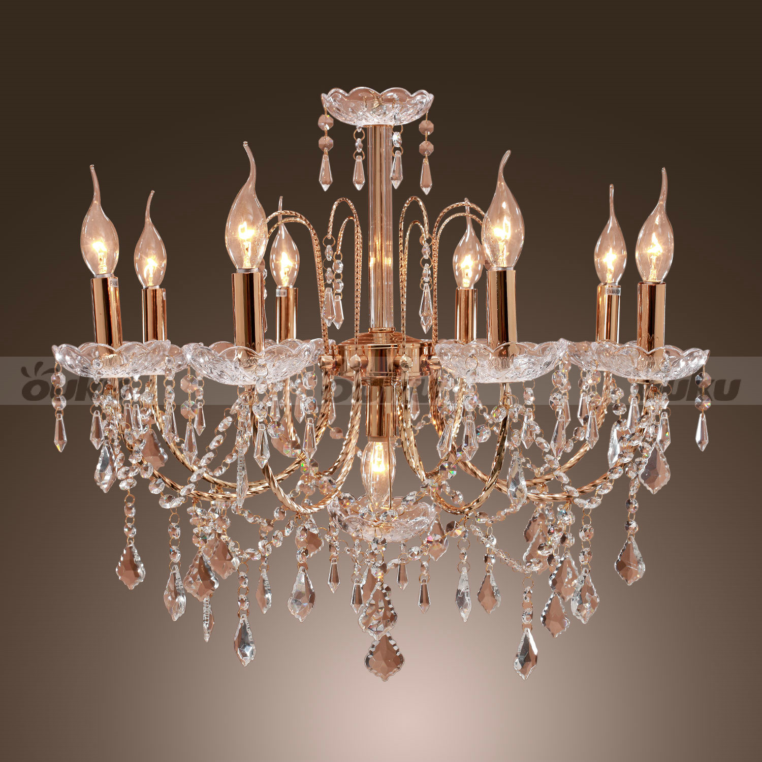Crystal Candle Style Elegant 9 Lights Chandelier Uplight Pendant