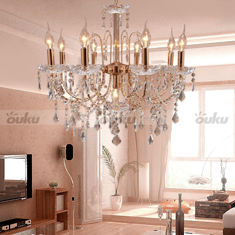 Crystal Candle Style Elegant 9 Lights Chandelier Uplight Pendant