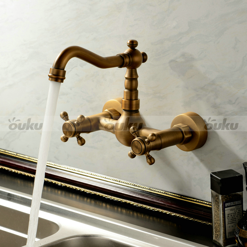NEW Double Handle Wall Mount Kitchen Faucet In Antique Brass ...