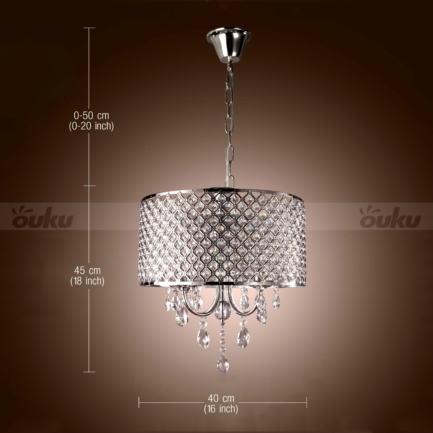 Modern Drum Ceiling Lighting Chandelier Light 4 Lamp LED Pendant