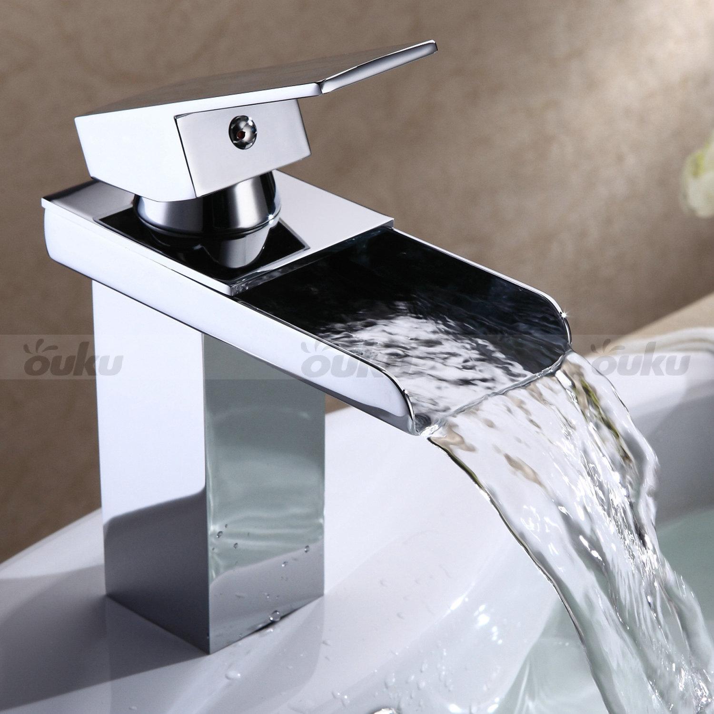 Hot Chrome Waterfall Faucet Bathroom Basin Tub Sink Mixer Tap Single ...