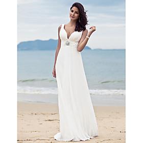 Sheath / Column Wedding Dresses Straps V Neck Sweep / Brush Train Floor Length Chiffon Sleeveless with 2020