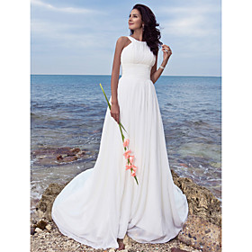 A-Line Wedding Dresses Jewel Neck Sweep / Brush Train Chiffon Regular Straps Formal Beach Plus Size with Ruched Draping 2020