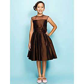 A-Line / Princess Jewel Neck Knee Length Organza / Taffeta Junior Bridesmaid Dress with Draping / Ruched / Flower